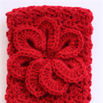 Crochet Red Headband with Red Flower detail