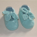Hand Knit Baby, Wool, Tie Mary-Jane Style Shoes, Green