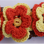 Brown Headband with 3 Flower detail