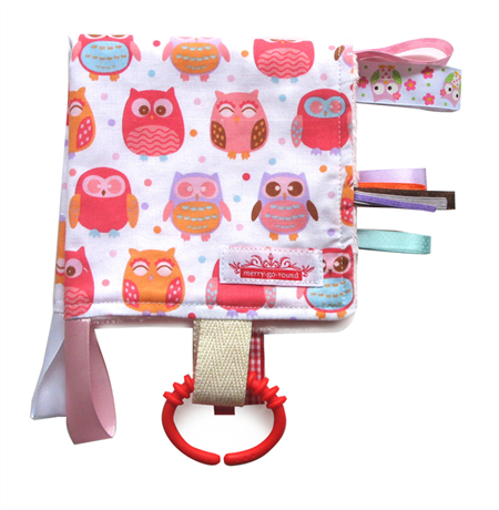 Taggy Snuggly Tag Toy Mini BABY Comforter . BABY GIFT - Pink Hoot Owls
