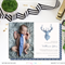 Printable Modern Watercolor Deer Birth Announcement Baby Boy Birth Announcement