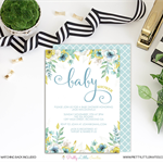 Watercolour Floral Mint & Gold Baby Shower Printable Invitation