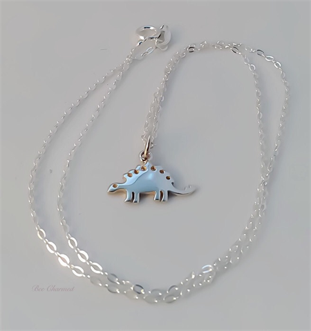 Stegosaurus necklace, sterling silver