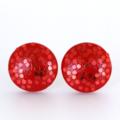Red Glitter Wood Stud Earrings