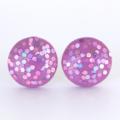 Violet Glitter Wood Stud Earrings
