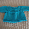 SIZE New born - 3 mths Hand knitted cardigan in aqua green : washable, unisex
