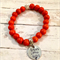 Personalised Orange Howlite Bead Bracelet with Hand Stamped Family Tree Charm