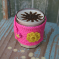 Christmas Gift ~ Bright Pink Reusable Hot Cup Holder ~  Eighties Mug Cosy