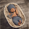 Baby Boy Pants and Hat Set / Newborn Photography Prop / Blue / Earflap Beanie