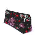 Makeup Zipper Pouch // Stationery Pencil Case in Black and Red Foal Forest