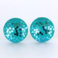 Turquoise Glitter Wood Stud Earrings