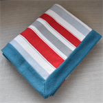 Baby floor or throw blanket - red stripe teal border