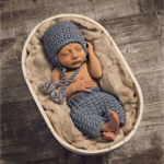 Baby Boy Pants and Hat Set / Newborn Photography Prop / Blue / Earflap Beanie