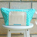 nappy bag. nappy wallet. nappy clutch. turquoise quatrefoil pattern
