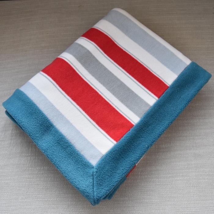 baby floor or throw blanket red stripe teal border