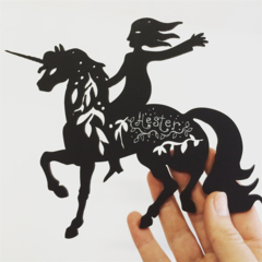 Girl with Unicorn woodcut (personalised optional)