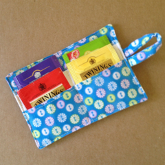 Blue Button Tea Wallet with blue pocket - holds 4 teas