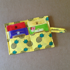 Pineapple Print Tea Wallet with yellow pocket - holds 4 teas
