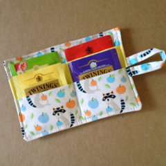Racoon Print Tea Wallet with yellow pocket - holds 4 teas