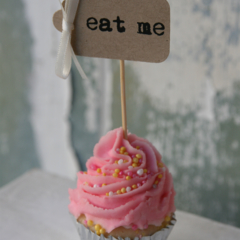 10 eat me Cupcake Toppers ~ Weddings ~ Bridal Showers ~ Tea Party ~ Garden Party