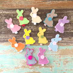 Bunny rabbit, choose your colour, felt hair clip, purple, pink, blue, mint