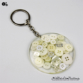 Resin Keyring - WHITE Buttons - Bag Tag - Luggage Identifier