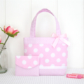 Mini Tote Bag & Purse - Pink Spots