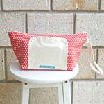 nappy bag. nappy wallet. nappy clutch. orange with white polka dot