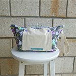 nappy bag. nappy wallet. nappy clutch. purple rose white daisies