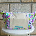 nappy bag. nappy wallet. nappy clutch.  purple aqua green white poppies
