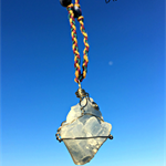 Stainless Steel Wire Wrapped Raw Blue Calcite and Sodalite Crystal Necklace