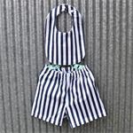12 - 18 months bib & shorts - navy and white stripe