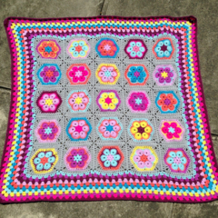 Crochet Baby Blanket colourful African flower design