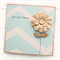 Get Well Soon card natural burlap bloom flower with blue chevron print