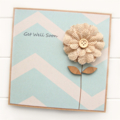 Get Well Soon Card, Thinking of You Card, Best Wishes Card, Burlap Flower