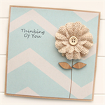 Thinking Of You card natural burlap bloom flower with blue chevron print