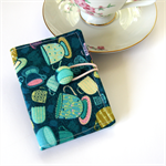Tea Bag Wallet - Pastel Teacups on Teal Blue