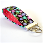 Wrist Key Fob - Tiny Flowers on Black