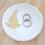 Gold leaf ceramic ring dish, candle holder, ring holder. porcelain bowl.