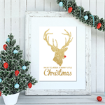 Christmas Rudolph Reindeer Wall Art - Print your own