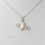 Little bat necklace, sterling silver