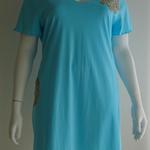 Plus size cotton knit nightie in sky blue