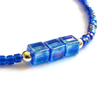 Transparent rainbow cobalt bead &transparent rainbow cobalt square bead bracet
