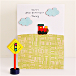 Any Age Train Birthday card personalised children kids age happy birthday trains