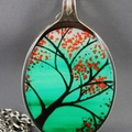 Upcycled/recycled vintage spoon resin pendant necklace, flowers, tree, print