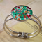 Women's round resin silver cuff bracelet bangle, flowers, floral, colorful print