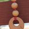 Natural Wood Beaded Necklace Pink Cotton Cord Circle Cutout Pendant