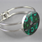 Women's round resin silver cuff bracelet bangle, flowers, floral, abstract print