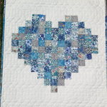 Liberty of London patchwork heart wallhanging, small quilt blues, baby shower