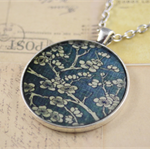 Large round resin women's pendant necklace, flowers, floral, tree art print